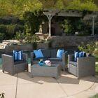 Puerta Grey Outdoor Wicker Sofa Set Patio Furniture Deck Pool Garden All Weather