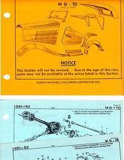 1951 1952 MG TD BODY PARTS LIST FRAME ORIGINAL RARE CRASH SHEETS MF2