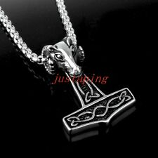 Sheep Head Thor's hammer of Thor Pendant Mens Stainless Steel Chain Silver Black
