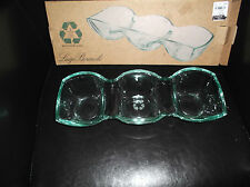 Brand New in Box Green Recycled Glass 3 Section Divided Dish for Serving Dips