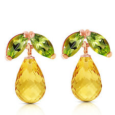 14K Solid Rose Gold Stud Earrings with Peridots & Citrines