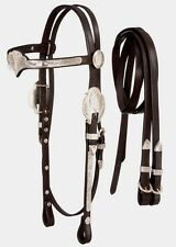 Silver Show Crown Browband Headstall - Bridle and Reins - Dark Oil Leather