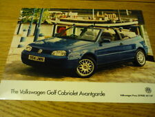 "VW VOLKSWAGEN GOLF CABRIOLET AVANTGARDE  PRESS PHOTO ""Brochure"" jm"