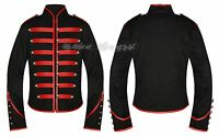 Red & Black Gothic Steampunk Parade Military Marching Band Jacket Goth Punk Emo