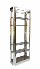 Vintage Pace Collection Polished Aluminum Brass Etagere Paul Evans Style 70's