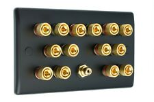 7.1 MATT BLACK Speaker Wall Face PLATE 14 GOLD Binding Post + Singola Presa RCA