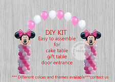 Pink Minnie Mouse BALLOON ARCH with COLUMNS Birthday Party Decorations