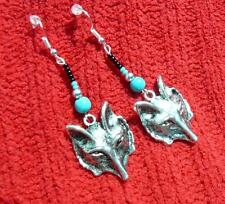 "Native American Indian ""Shadow Wolf"" Sterling Silver Earrings"