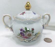 Mitterteich Bavaria Germany Sugar Bowl - Meissen Floral Metallic Gold #103