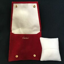 CARTIER Suede Suede-like Travel Watch Case Pillow Jewelry Pouch Necklace Ring