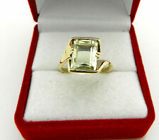 Estate 10k Yellow Gold Green Amethyst Ladies Ring size 6.75