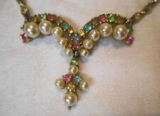 Vintage Bogoff Necklace Multi color Pastel Rhinestones
