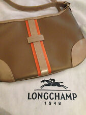 COATED CANVAS TRIMMED WITH COWHIDE Longchamp Beige Gold  Small Tote Handbag!! NB