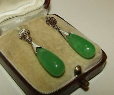 ELEGANT, ART DECO, CHINESE STERLING SILVER BOMB EARRINGS WITH NATURAL JADE
