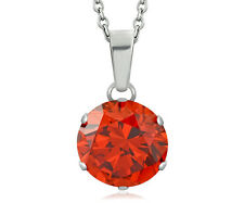 Ladies Stainless Steel Round Circle Charm Necklace Fire Red Opal CZ Chain Link