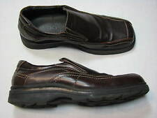 45 EU ALDO 12 Mens Brown Leather Loafer Shoes Slip ons Casual Dress UK 11 Rubber