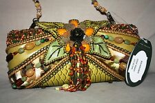 NWT MARY FRANCES GREEN BEADED AND EMBROIDERED BAG