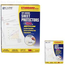 100 C-Line Clear Sheet Page Protectors 8.5x11, Poly / Plastic, Top Load - NEW