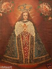 """Cuzco Religious Oil Painting Peruvian Folk Art 11"""" x 15"""" - Madonna and Flowers"""