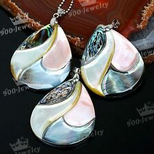 Mix Abalone Paua Shell Mop Teardrop Bead Pendant 35x43mm fit Necklace Lady Gift