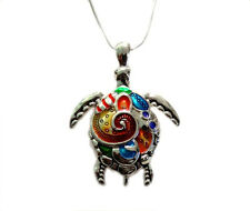"""Clolrful Enameled  Sea Turtle  Large Pendant  Necklace   with  24"""" Chain"""