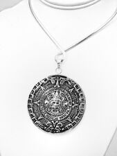 Big Silver Traditional Aztec Calendar Power Pendant Jewelry Taxco Mexico