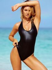 $128 NWT Victorias Secret Luxe Neoprene Black One Piece Halter Swim Suit L N998
