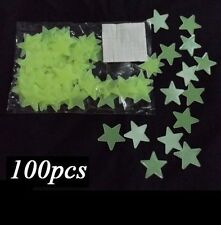 100PCS GLOW IN THE DARK REAL MOON AND STARS Bedroom Wall Stickers ceiling Kids