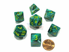 Polyhedral 7-Die Vortex Chessex Dice Set - Malachite Green with Yellow Numbers