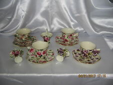 Demitasse~Expresso Set~4 Cups & Saucers~Butterfly Handles+3 Miniature Baskets