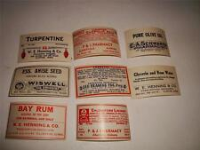 LOT ANTIQUE PHARMACY MEDICINE BOTTLE LABEL POISON SKULL ROSE WATER SEED