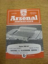 03/03/1962 Arsenal v Blackburn Rovers  (Light Crease, Score Noted On Cover). Any