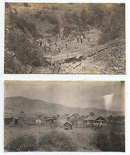 Two 1910 Photos of Humbug North Bloomfield CA Mining Operation and Houses
