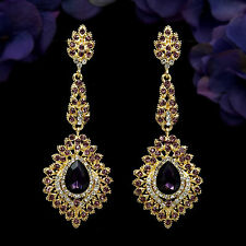 18K Gold Plated GP Purple Crystal Rhinestone Drop Chandelier Dangle Earrings 992