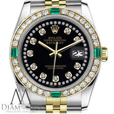 Rolex 31mm Datejust 18K Yellow Gold Steel SS 2Tone Black String Emerald Diamond