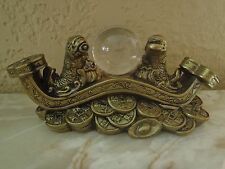 FENG SHUI GOLDEN DOUBLE CARPS COI FISH CRYSTAL BALL CHINESE COINS