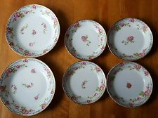 SET OF 6 JEAN POUYAT LIMOGES BOWLS PINK ROSES BLUE FLORAL BORDER JPL