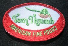 "TOM THUMB EMBROIDERED SEW ON PATCH AMERICAN FINE FOODS UNIFORM 4"" x 2 1/2"""