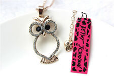 Betsey Johnson Fashion Necklace Cute Long owl Crystal Pendant Sweater Chain #114