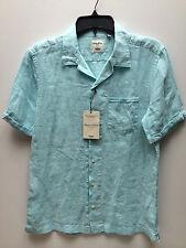 Men's Murano 100% Linen Short Sleeves Slim Fit Button Front Shirts: M, L, XL