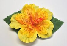 """4"""" Bright Yellow Double Hibiscus with Green Leaves Silk Flower Hair Clip Luau"""