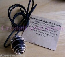 APACHE TEAR PENDANT - GENUINE ROCK - GIFT PACKED WITH POUCH-LONG ADJUSTABLE