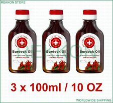 Organic 3 x 100ml 10 OZ Burdock Oil with Red Peppers Stimulates Hair Growth FrSh
