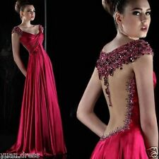 New Long Beaded Backless Evening Dress Formal Pageant Party Celebrity Prom Gown