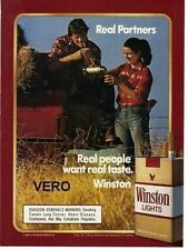 1987 magazine ad WINSTON LIGHTS cigarettes advertisement couple hay truck