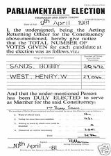 IRISH REPUBLICAN BOBBY SANDS PARLIAMENTARY ELECTION RESULT PAPER 9TH APRIL 1981