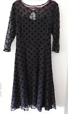 Roman Originals - Sweetheart Neck Spot Mesh Dress - Black - Plus Size 18