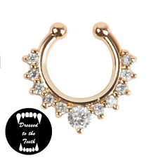 Fake Septum Gold Nose Ring Clear Crystal Faux Fashion Accessory UK Free Postage