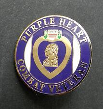 PURPLE HEART COMBAT VETERAN LAPEL PIN BADGE 1 INCH