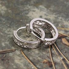 Fashion White Gold Filled Womens Girls Hollow Children Small Hoop Earrings Ear